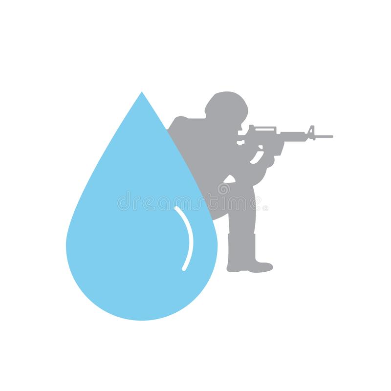 Water war concept. water crisis. vector design illustration.  stock illustration