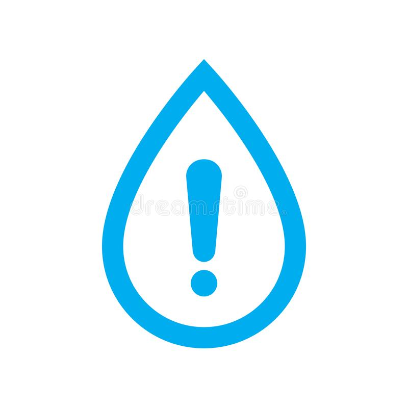 Water warning icon. Blue water drop with caution symbol royalty free illustration