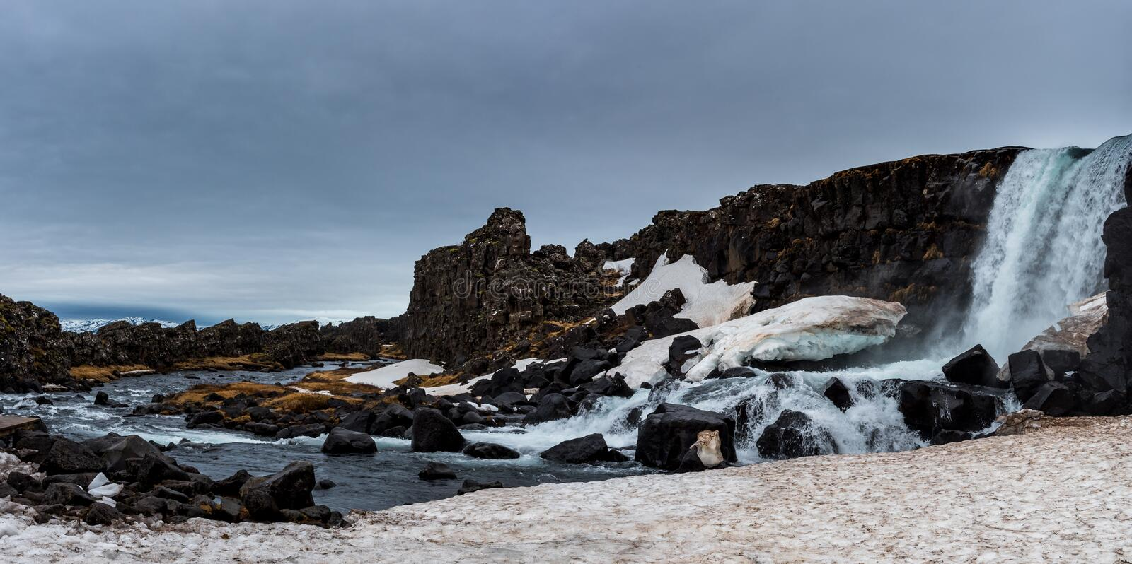 Water from waterfall splashing on a rocky river Iceland stock image