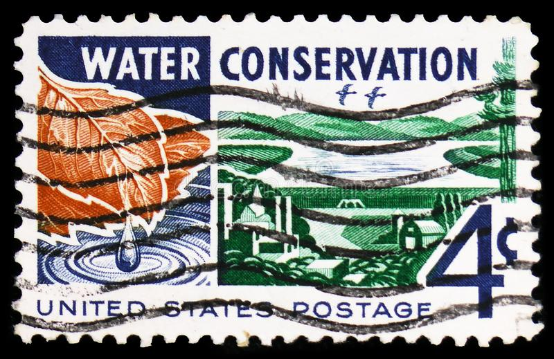 Water : From Watershed to Consumer, Water Conservation Issue serie, circa 1960. MOSCOW, RUSSIA - FEBRUARY 22, 2019: A stamp printed in United States shows Water royalty free stock photos