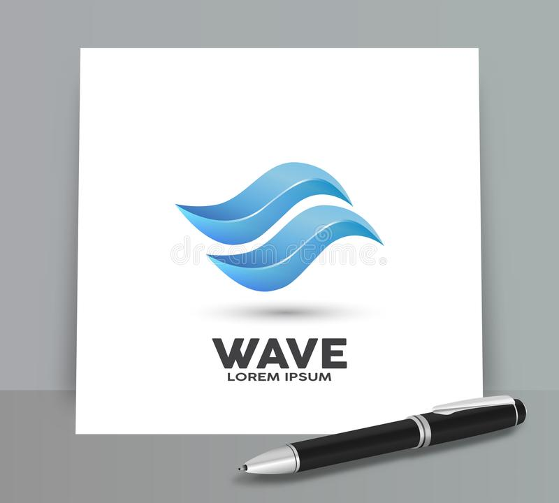Water wave abstract vector logo stock illustration