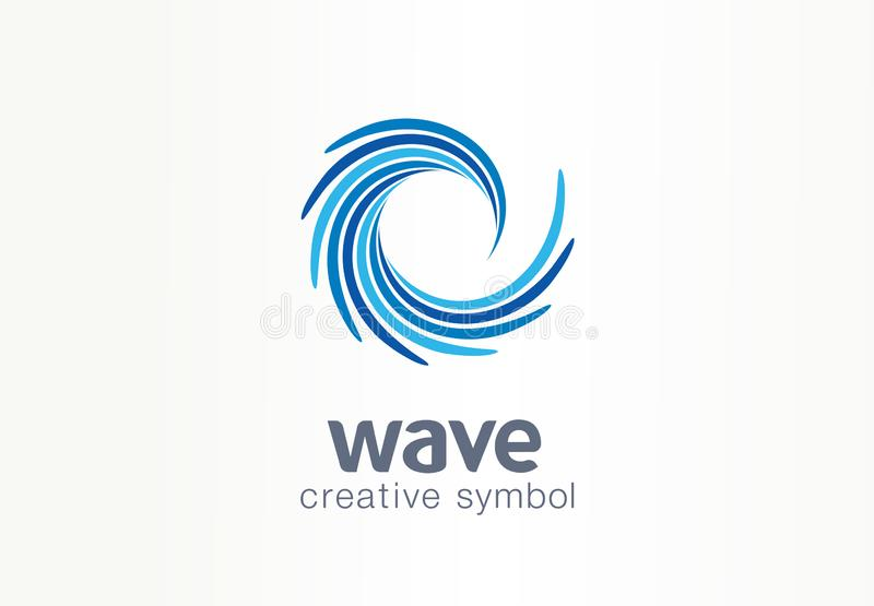 Water wave, aqua, whirlpool creative symbol concept. Blue swirl, clear spiral mix abstract business logo idea. Clean sea vector illustration