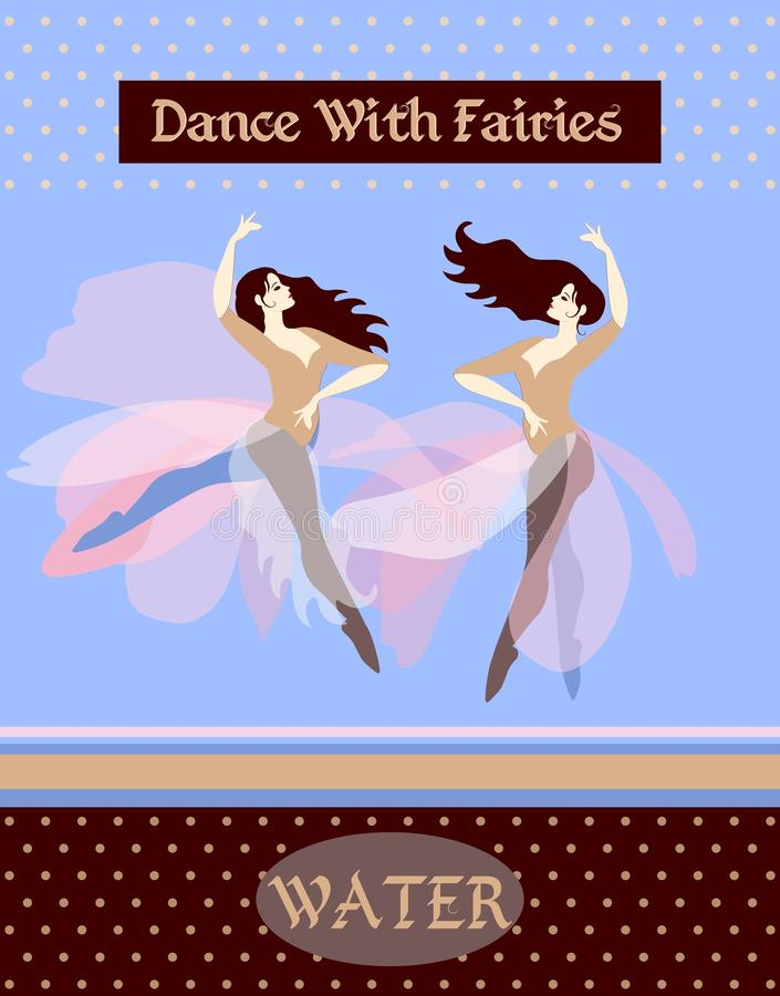 Water. Wave. Collection of posters with dancing women, depicting the four elements royalty free illustration