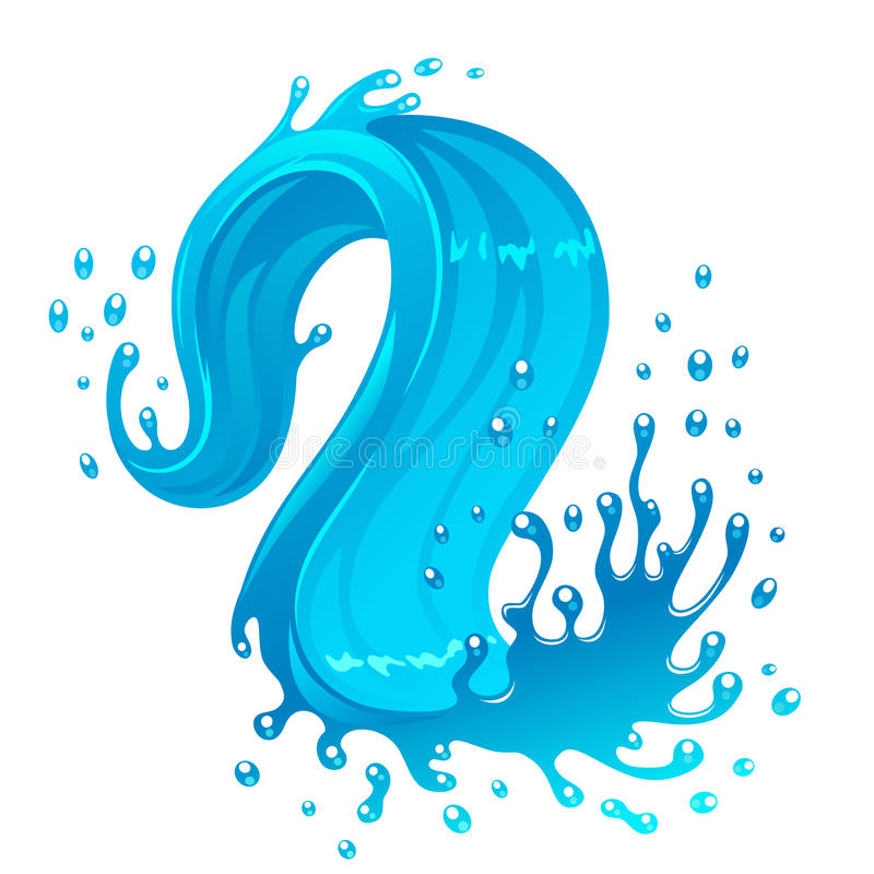 Water wave. Illustration of blue water wave. Can be used as design element royalty free illustration