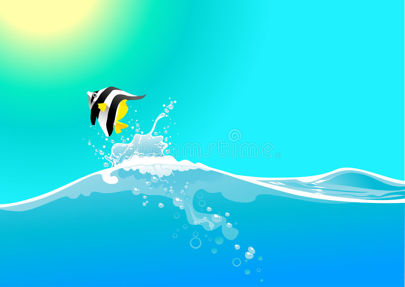 Water wave and jumping fish stock illustration