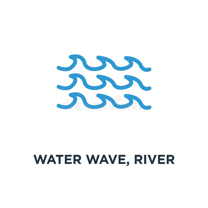 water wave, river water icon. nature element, ocean or sea conce vector illustration