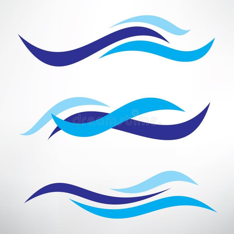 Water wave set of stylized vector symbols royalty free illustration