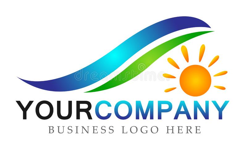 Water wave sun ray care sea water wave concept symbol icon design vector on white background. In ai10 illustrations for any company stock illustration