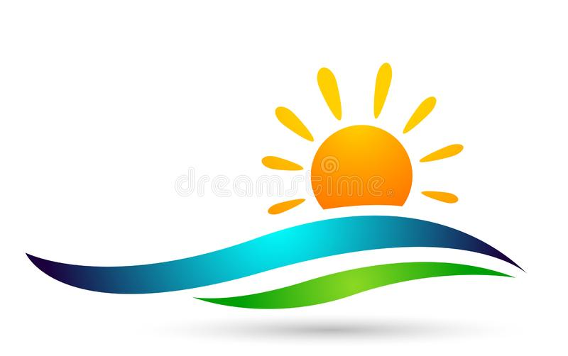 Water wave sun set sea waves Ocean beach logo Template vector Clean water drop concept logo icon element sign on white background. Water wave sun set sea waves stock illustration