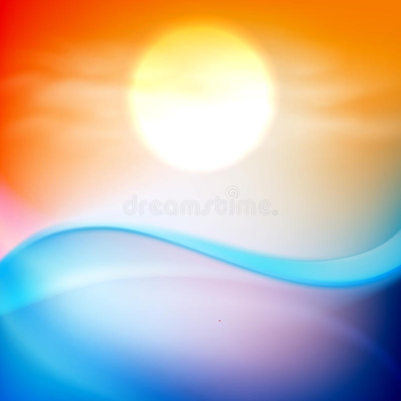 Water wave in sunset time vector illustration