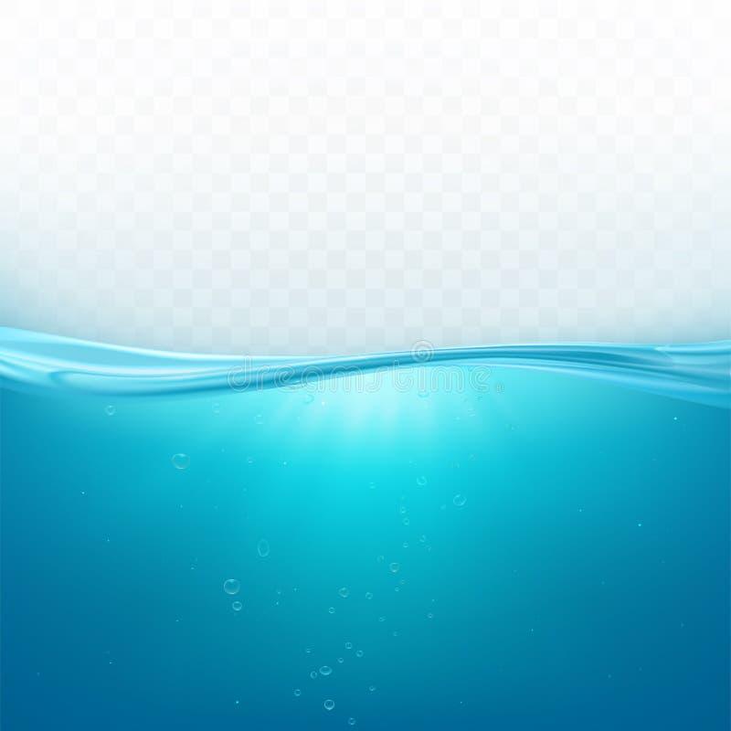 Water wave surface, liquid ocean or sea underwater royalty free illustration