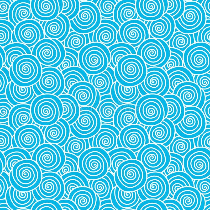 Water wave swirls seamless pattern stock illustration