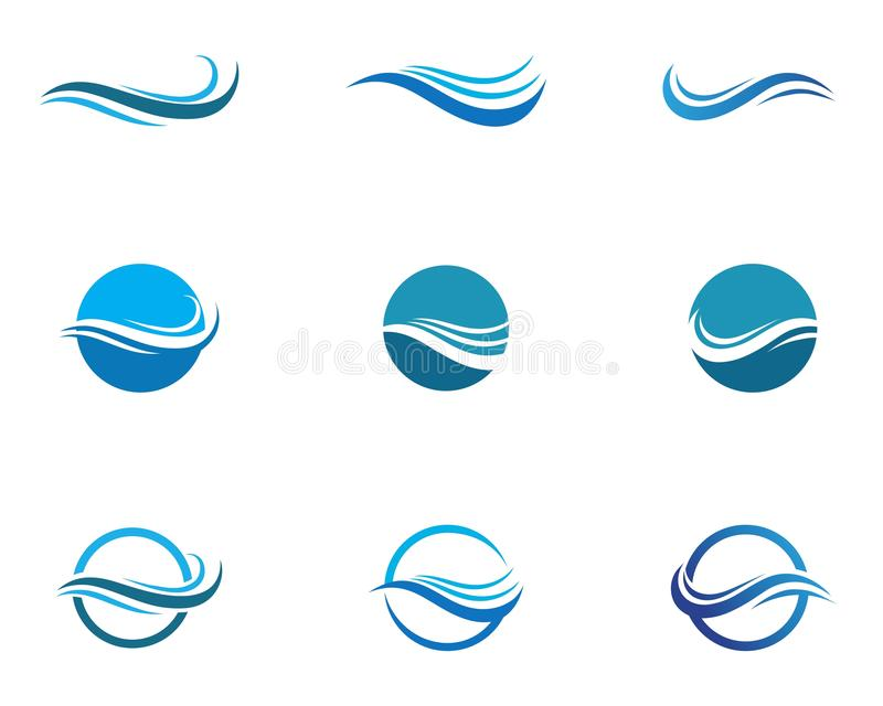 Water Wave symbol and icon Logo Template vectors royalty free illustration