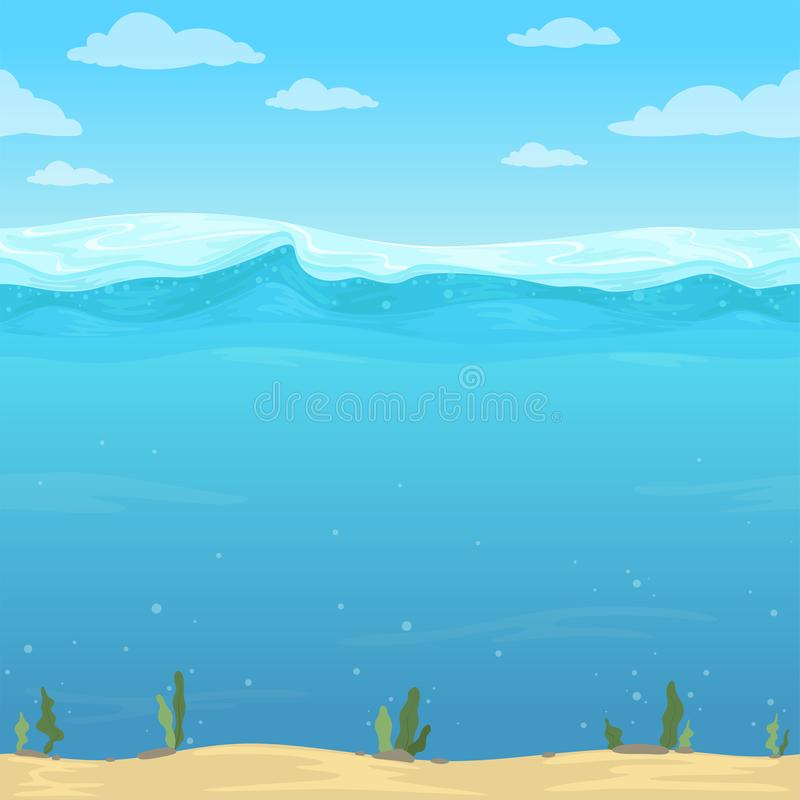 Water waves background. Seamless liquid pattern sea ocean river cartoon surface for 2d vector game stock illustration