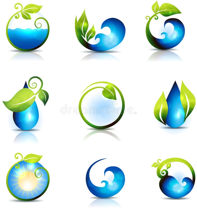 Water waves and drops vector illustration
