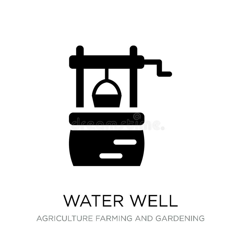 Water well icon in trendy design style. water well icon isolated on white background. water well vector icon simple and modern. Flat symbol for web site, mobile vector illustration