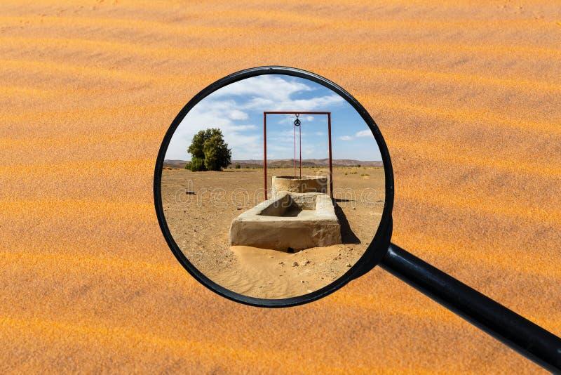 Water well in the Sahara desert vector illustration