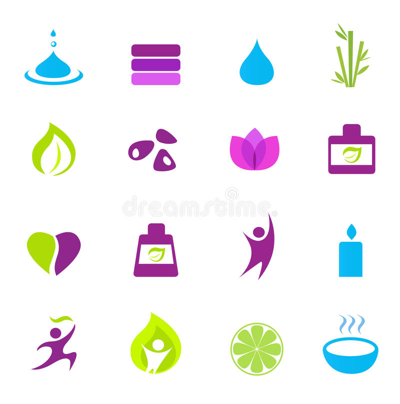 Download Water, Wellness, Nature And Zen Icons - Pink Stock Vector - Image: 18630820