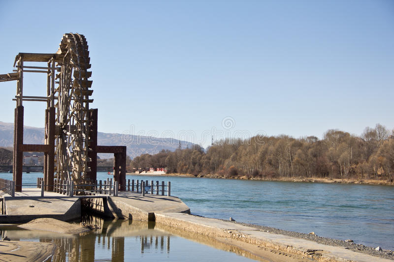 Download Water Wheel In Blue Sky Day Editorial Photo - Image: 43200676