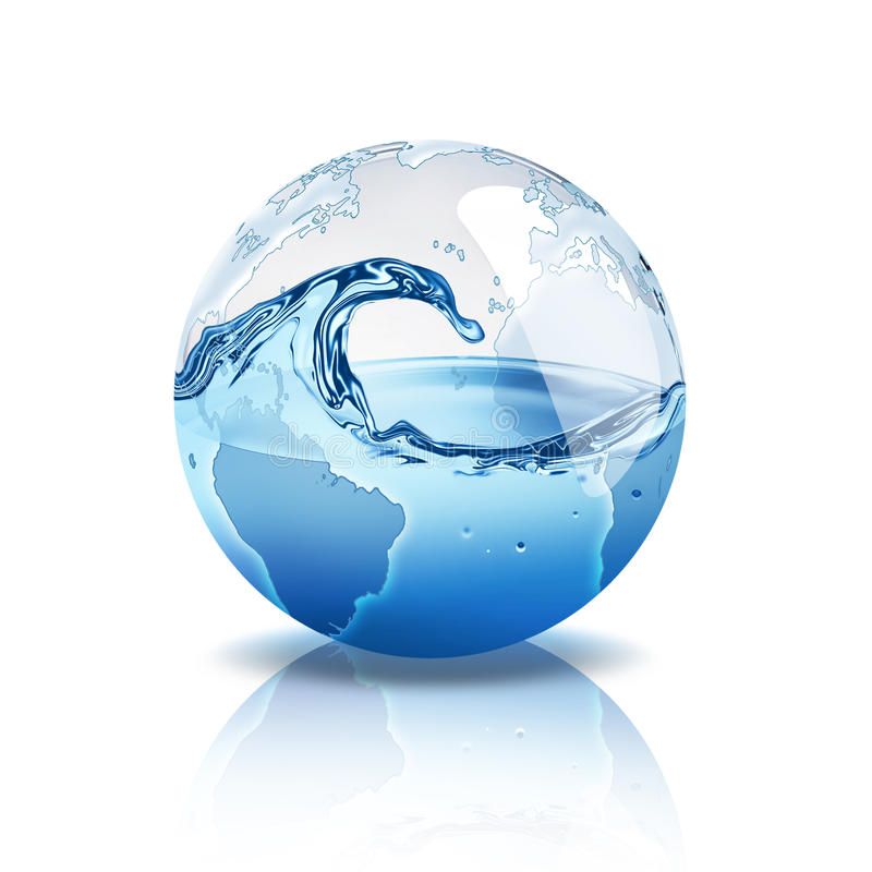Water world. Blue world with water inside royalty free illustration
