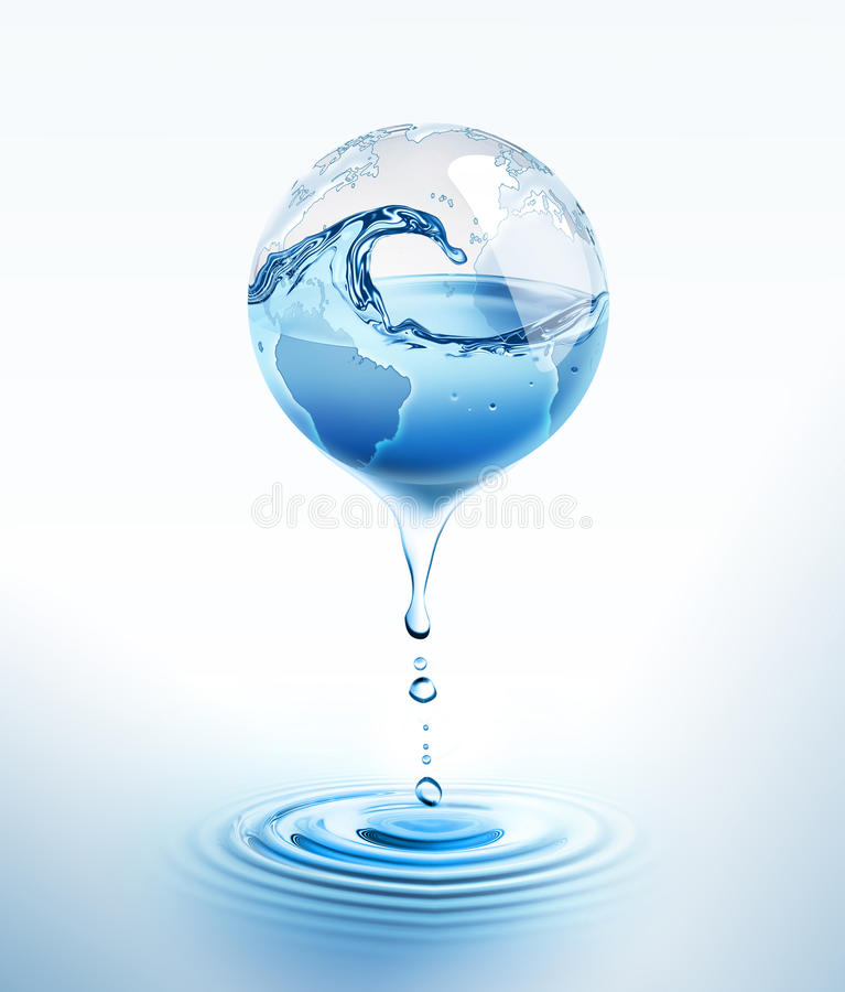 Water world. Blue world with dripping water royalty free illustration