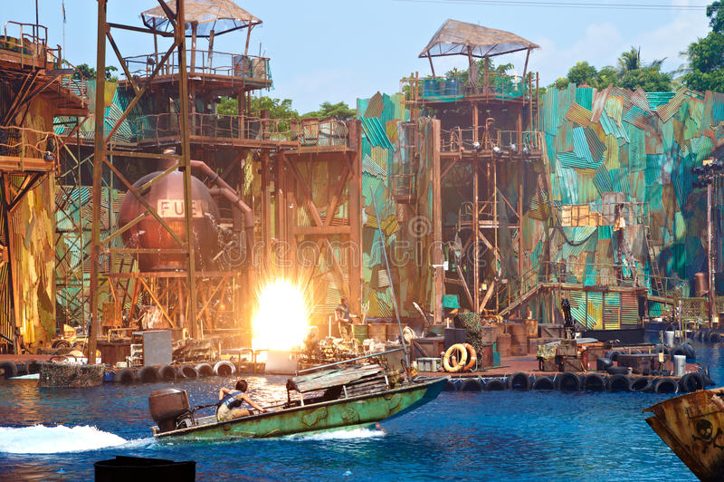 Water World Show at Universal Studios Singapore stock photos