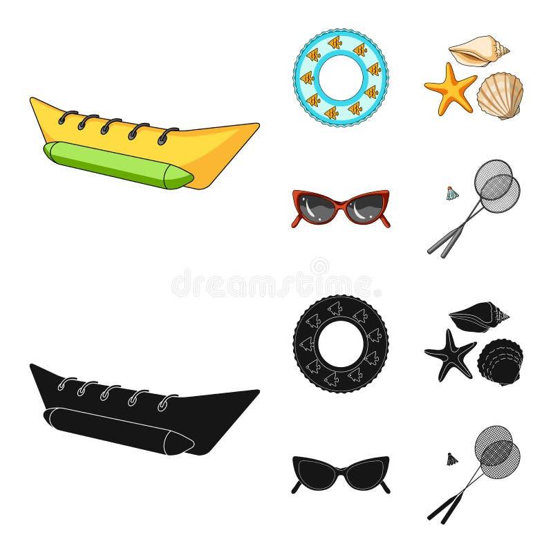Wateraantrekkelijkheid, zeeschelpen, beschermende brillen Vastgestelde de inzamelingspictogrammen van de de zomervakantie in beel vector illustratie