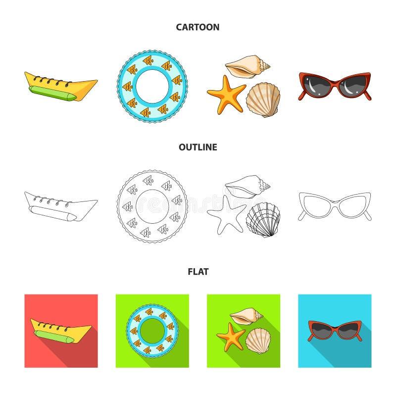 Wateraantrekkelijkheid, zeeschelpen, beschermende brillen Vastgestelde de inzamelingspictogrammen van de de zomervakantie in beel royalty-vrije illustratie