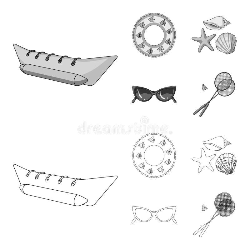 Wateraantrekkelijkheid, zeeschelpen, beschermende brillen Vastgestelde de inzamelingspictogrammen van de de zomervakantie in over vector illustratie