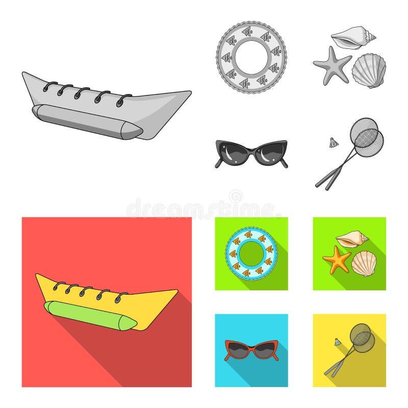 Wateraantrekkelijkheid, zeeschelpen, beschermende brillen Vastgestelde de inzamelingspictogrammen van de de zomervakantie in de z royalty-vrije illustratie