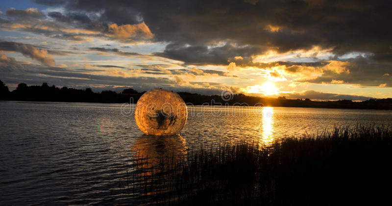 Waterball in the lake royalty free stock photography