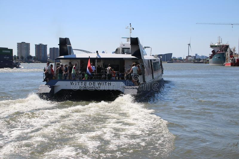 Waterbus on the river Lek, a high speed public transportation with a hydrofoil royalty free stock photo