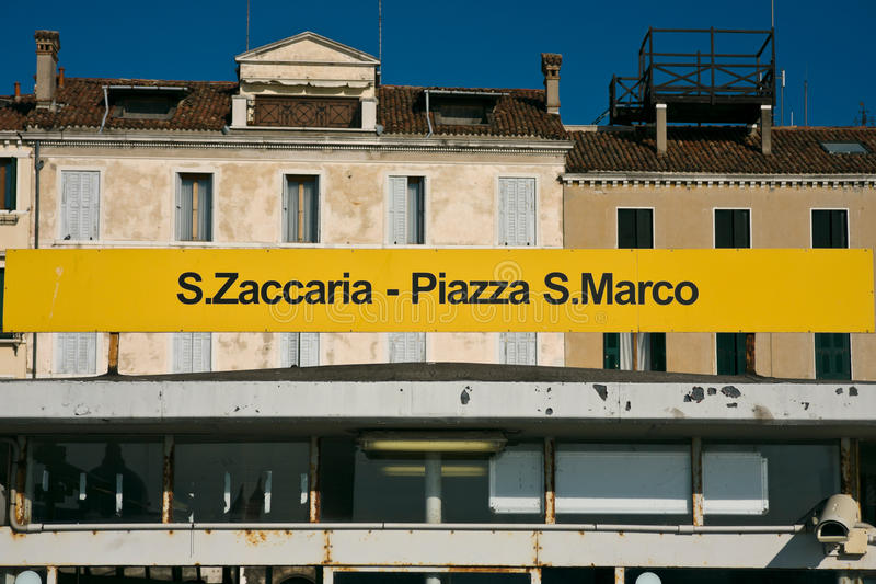 Waterbuseinde van San Zaccaria San Marco in Venetië royalty-vrije stock afbeelding