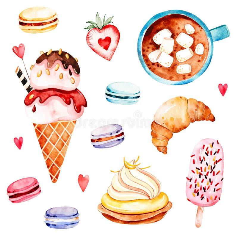 Waterclolor uppsättning med mat och drinken vektor illustrationer