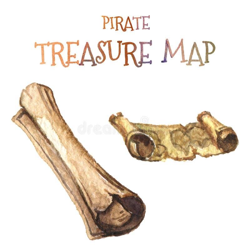 watercolor Ícone marinho Mapa amarelo velho do pirata ilustração do vetor