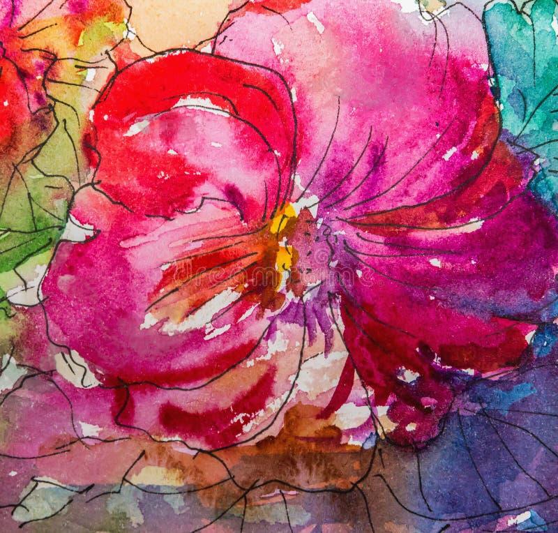 watercolor Αφηρημένο φωτεινό ζωηρόχρωμο διακοσμητικό υπόβαθρο watercolor watercolor Χειροποίητο floral σχέδιο Απεικόνιση σχεδίων διανυσματική απεικόνιση