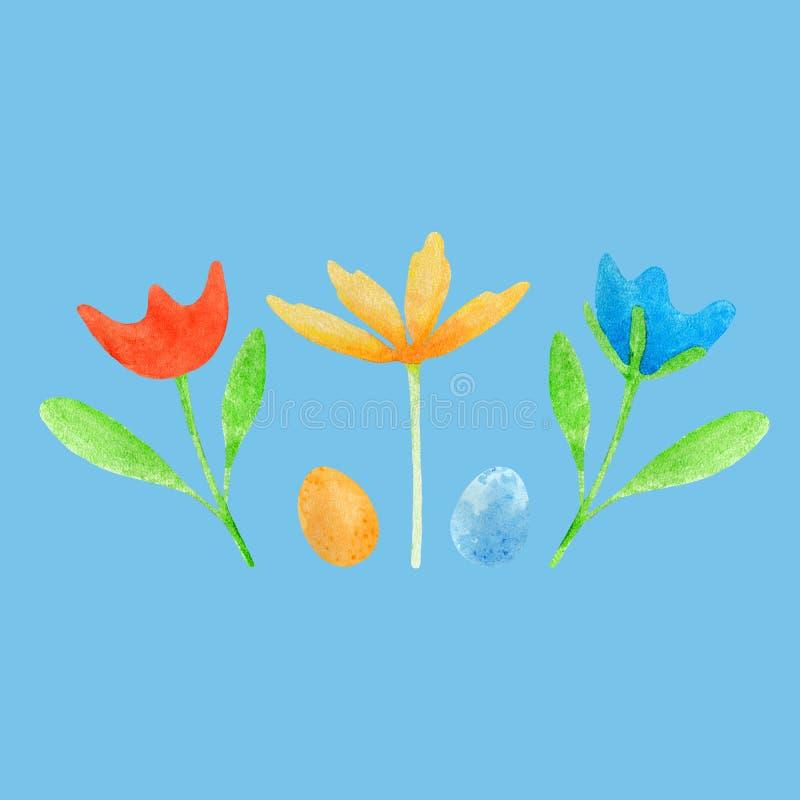 Watercolor Πάσχα που τίθεται με τα αυγά και τα λουλούδια απεικόνιση αποθεμάτων