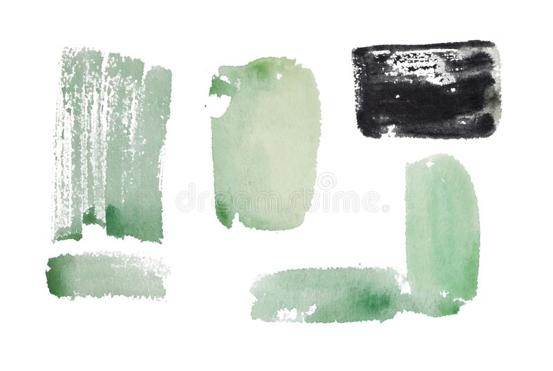 Watercolor аbstract splash. Watercolor isolated аbstract paint splashes stock illustration