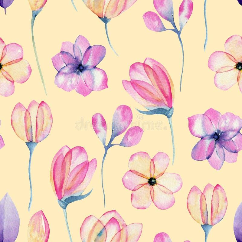 Watercolor άνευ ραφής σχέδιο λουλουδιών ανθών μήλων κρητιδογραφιών ρόδινο διανυσματική απεικόνιση