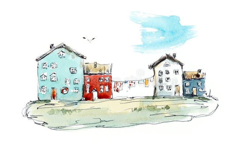 Χωριό παραλιών Συρμένες χέρι απεικονίσεις Watercolor απεικόνιση αποθεμάτων
