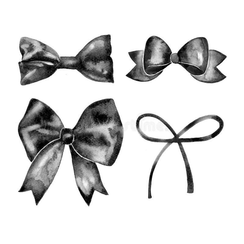 Watercolor αναδρομική συλλογή τόξων δώρων σατέν μαύρη Απομονωμένος στο λευκό διανυσματική απεικόνιση