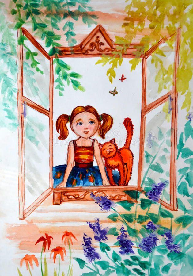 watercolor απεικόνισης Το μικρό κορίτσι με τις πλεξίδες και μια γάτα πιπεροριζών εξετάζουν έξω, τη φύση από το πλαίσιο παραθύρων διανυσματική απεικόνιση