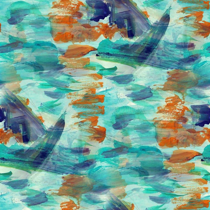 Watercolor αφηρημένος πόνος σύστασης υποβάθρου άνευ ραφής μπλε, καφετής διανυσματική απεικόνιση
