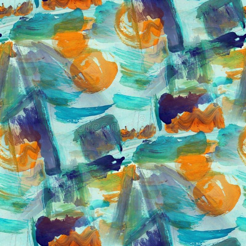 Watercolor αφηρημένος πόνος σύστασης υποβάθρου μπλε, καφετής άνευ ραφής απεικόνιση αποθεμάτων