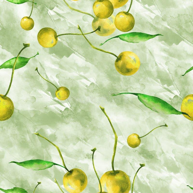 Watercolor, εκλεκτής ποιότητας, άνευ ραφής σχέδιο - κλάδος δαμάσκηνων, μούρο κερασιών, φύλλο Δαμάσκηνα κλαδάκι με τα φύλλα ελεύθερη απεικόνιση δικαιώματος