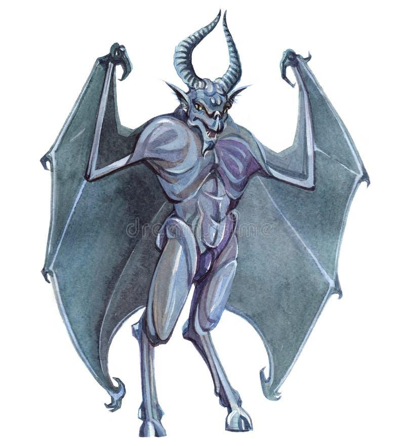 Watercolor ενιαίος διάβολος χαρακτήρα χαρακτήρα μυστικός μυθικός που απομονώνεται ελεύθερη απεικόνιση δικαιώματος