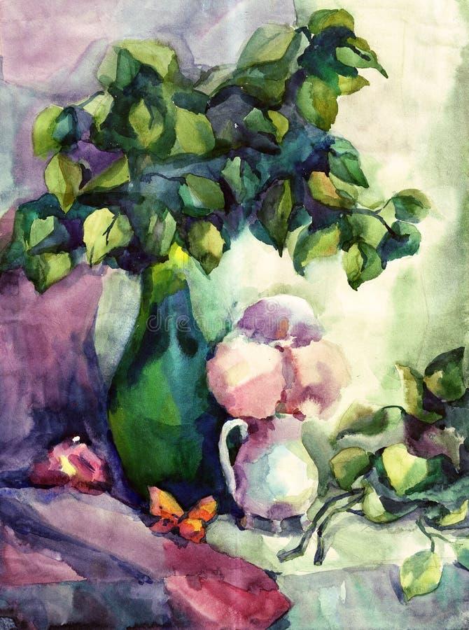 watercolor ζωής ακόμα ελεύθερη απεικόνιση δικαιώματος