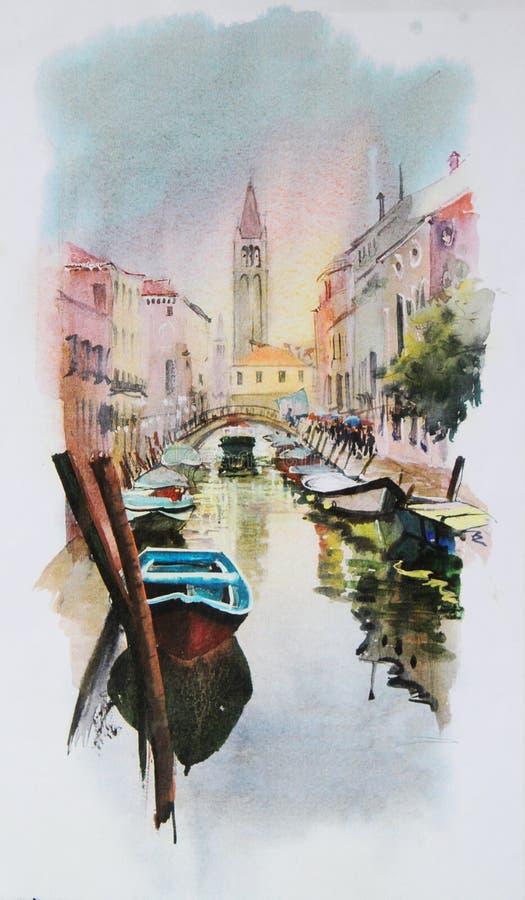 watercolor ζωγραφικής Βενετία ελεύθερη απεικόνιση δικαιώματος