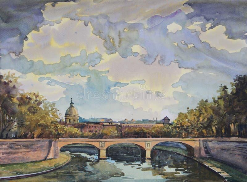 watercolor ζωγραφικής Ρώμη ελεύθερη απεικόνιση δικαιώματος