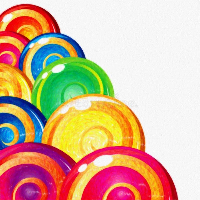 Watercolor ζωηρόχρωμο Lollipops στο άσπρο υπόβαθρο Γλυκά τρόφιμα ελεύθερη απεικόνιση δικαιώματος